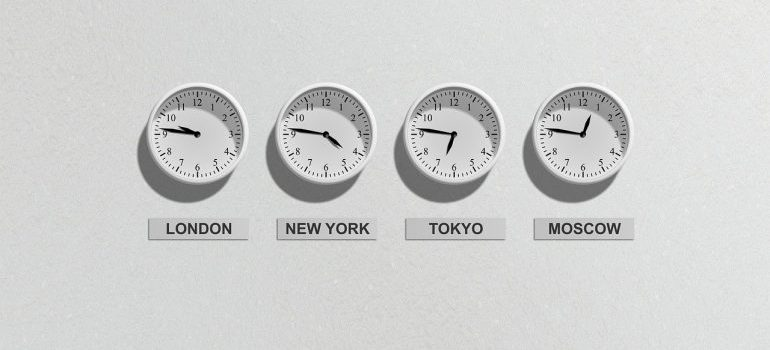 Clocks showing time in different parts of the world.