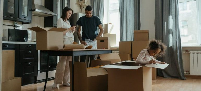 A family packing various items