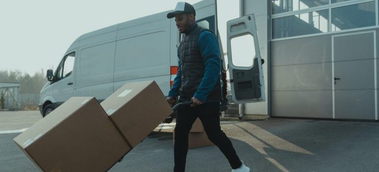 mover with boxes